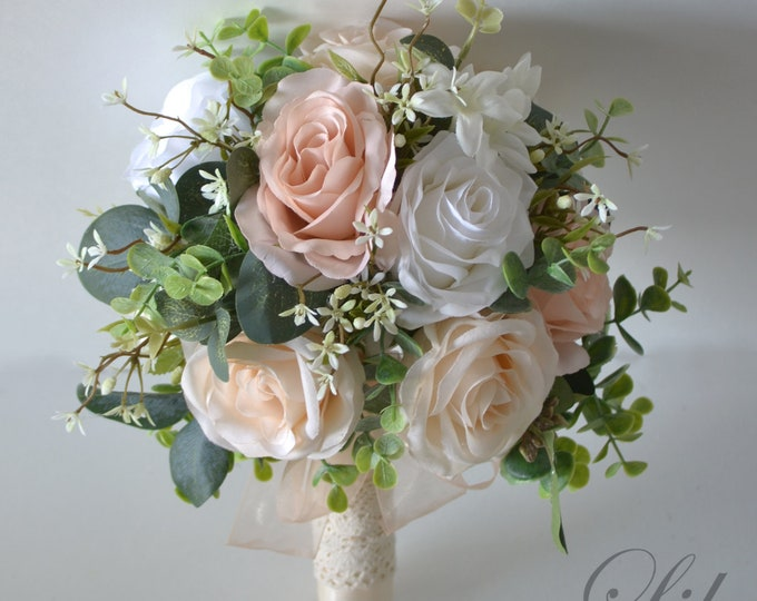 Wedding Bouquet, Bridal Bouquet, Bridesmaid Bouquet, Silk Flower Bouquet, Wedding Flower, blush, peach, ivory, greenery, Lily of Angeles