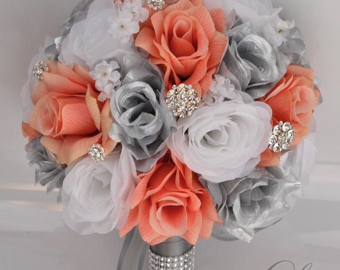 RESERVED LISTING, Wedding Bouquet, Bridal Bouquet, Bridesmaid Bouquet, Silk Flower Bouquet, Wedding Flowers, Coral, Silver, Lily of Angeles