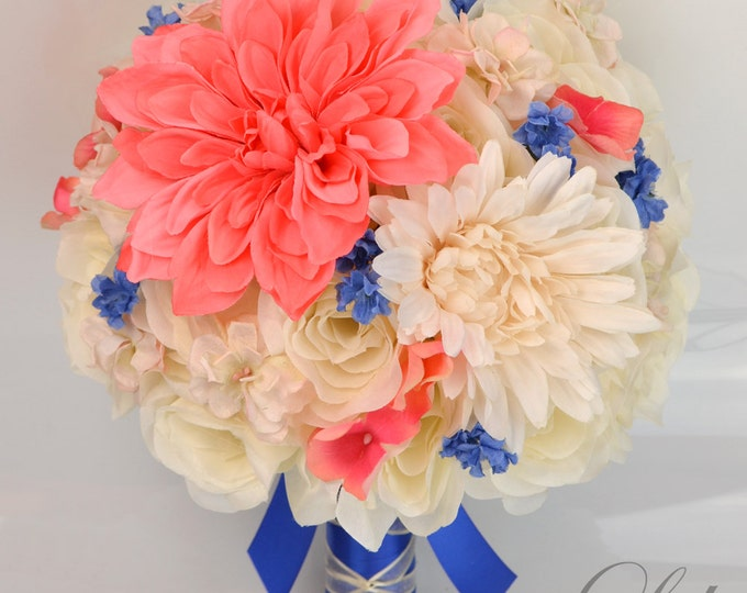 """17 Piece Package Silk Flowers Wedding Bouquet Bride Bridal Party Bouquets Decoration CORAL Royal BLUE PEACH Guava """"Lily of Angeles"""""""
