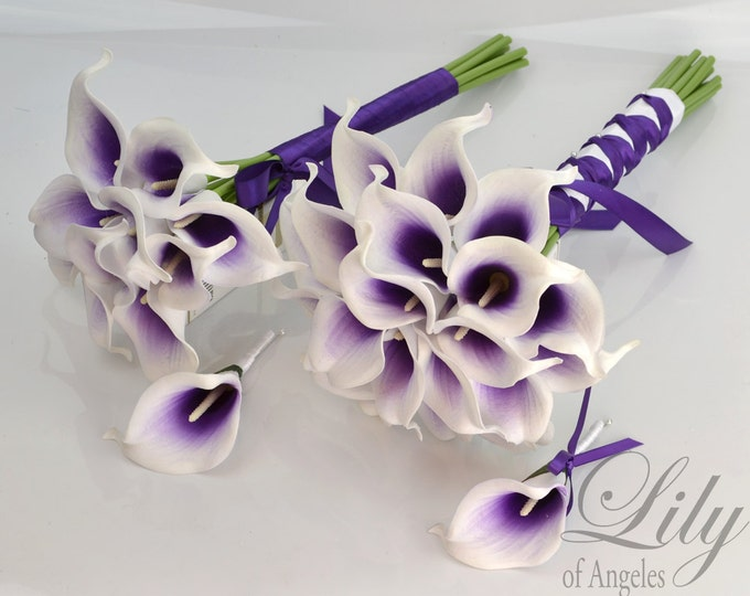 """Wedding Bridal Bouquets 4 Piece Package Silk Flowers Party Picasso Real Touch Calla Lily Lily PICASSO PURPLE WHITE """"Lily of Angeles"""" CAPU02"""