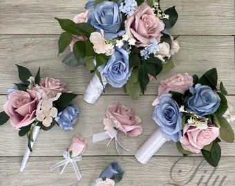 Wedding Bouquet, Bridal Bouquet, Bridesmaid Bouquet, 17 PIECE PACKAGE, Silk Flower, Wedding Flower, Dusty Pink, Dusty Blue, Lily of Angeles