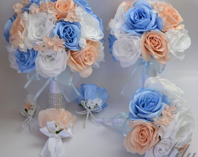 Wedding Bouquet, Bridal Bouquet, Silk Flower Bouquet, Silk Bouquet, Bouquets, Petal Pink, Dusty Blue, Serenity Blue, Blush, Lily of Angeles