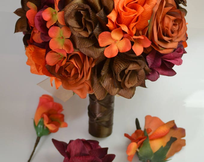 Wedding Bouquet, Bridal Bouquet, Bridesmaid Bouquet, Silk Flower Bouquet, Wedding Flower, 17 Piece Set, Fall, Brown, Orange, Lily of Angeles