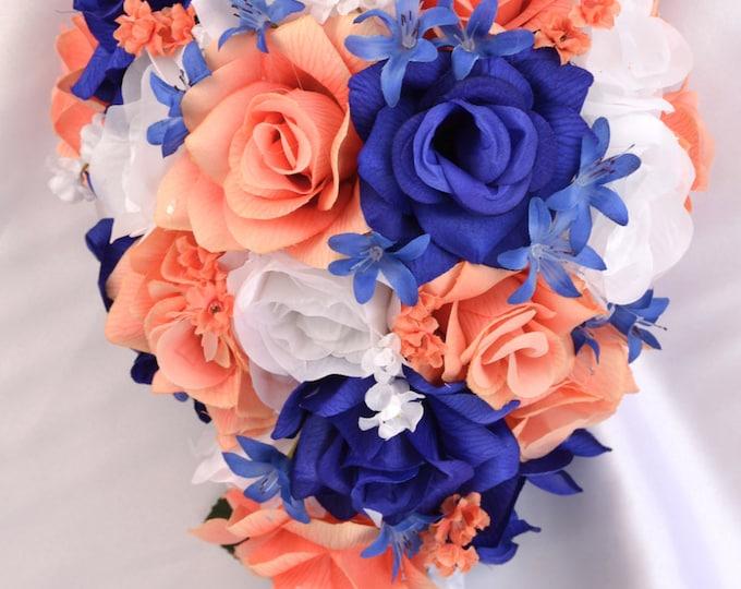 Wedding Bouquet, Bridesmaid Bouquet, Wedding Flower, Silk Flower Bouquet, 17 Pieces, Cascade, Teardrop, Coral, Royal, Navy, Lily of Angeles