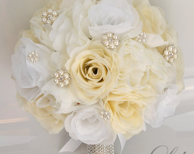 Wedding Bouquet, Bridal Bouquet, Bridesmaid Bouquet, Silk Flower, Wedding Flowers, Silk Bouquet, 17 Piece Set, Ivory, Cream, Lily of Angeles