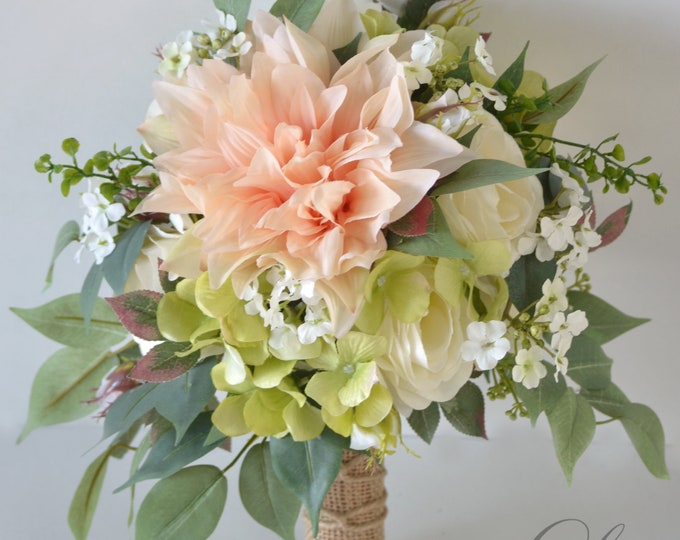 Wedding Bouquet, Bridal Bouquet, Bridesmaid Bouquet, Silk Flower Bouquet, Wedding Flower, blush, peach, pink, green, ivory, Lily of Angeles