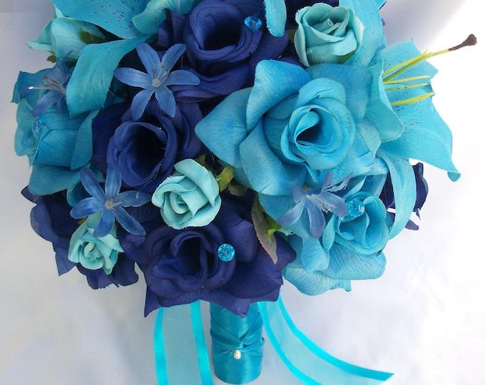 Wedding Bouquet, Bridal Bouquet, Bridesmaid Bouquet, Silk Flower Bouquet, Wedding Flower, 17 Pieces, Turquoise Blue, Malibu, Lily of Angeles