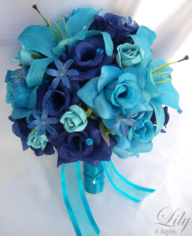 Malibu Wedding Bouquet Lily of Angeles Silk Flower Bouquet Bridal Bouquet RESERVED LISTING Turquoise Blue Bridesmaid Bouquet
