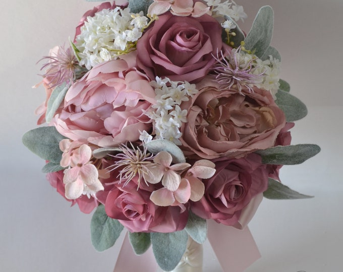 Wedding Bouquet, Bridal Bouquet, Bridesmaid Bouquet, Silk Flower Bouquet, Wedding Flower, Mauve, Blush, Dusty Pink, Cream, Lily of Angeles