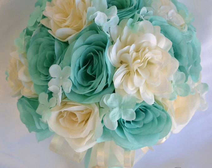 Wedding Bouquet, Bridal Bouquet, Bridesmaid Bouquet, Silk Flower Bouquet, Wedding Flower, 17 Pcs, Pool, Spa, Robin Egg Blue, Lily of Angeles