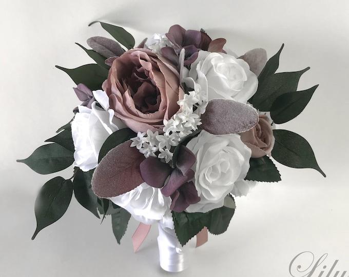 Wedding Bouquet, Bridal Bouquet, Bridesmaid Bouquet, Silk Flower Bouquet, Wedding Flower, Mauve, Dusty Pink, Plum, Marsala, Lily of Angeles