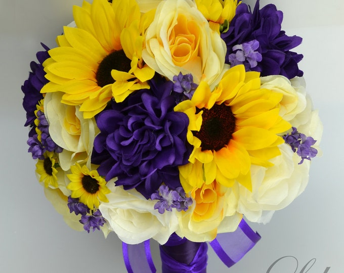 """Wedding Bridal Bouquets 17 Piece Package Bouquet Silk Flowers Artificial Flower Bride Sunflower PURPLE YELLOW IVORY """"Lily of Angeles"""" PUYE02"""