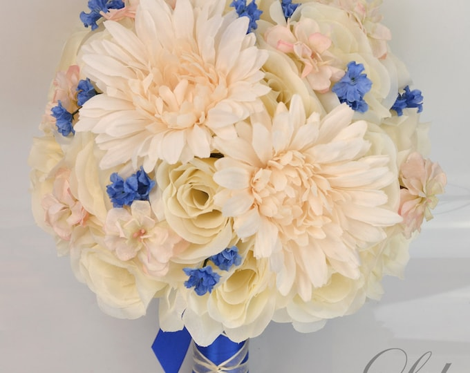 Wedding Bouquet, Bridal Bouquet, Bridesmaid Bouquet, Silk Flower, Wedding Flower, Silk Bouquet, 17Pieces, Peach, Royal Blue, Lily of Angeles
