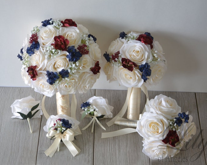Wedding Bouquet, Bridal Bouquet, Bridesmaid Bouquet, Silk Flower Bouquet, Wedding Flower, burgundy, navy, ivory, navy blue, Lily of Angeles