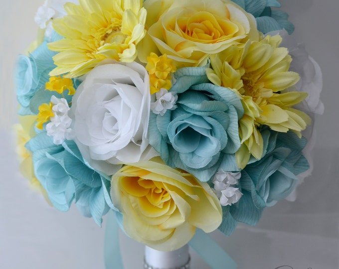 Wedding Bouquet, Bridal Bouquet, Bridesmaid Bouquet, Silk Flower Bouquet, Wedding Flowers, 17 Piece Package, Yellow, Aqua, Lily of Angeles