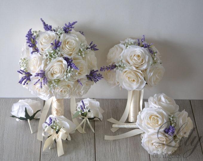 Wedding Bouquet, Bridal Bouquet, Bridesmaid Bouquet, Silk Flower Bouquet, Wedding Flower, ivory, dark lavender, lavender, Lily of Angeles