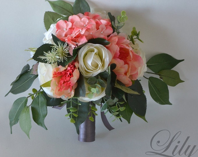 Wedding Bouquet, Bridal Bouquet, Bridesmaid Bouquet, Silk Flower Bouquet, Wedding Flower, coral, peach, pink, gray, silver, Lily of Angeles