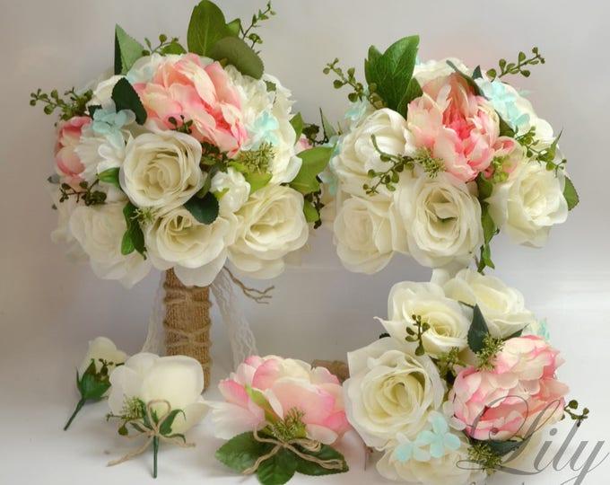 Wedding Bouquet, Bridal Bouquet, Bridesmaid Bouquet, Silk Flower Bouquet, Bouquet, 17 Piece Package, Pink, Robin's Egg Blue, Lily of Angeles