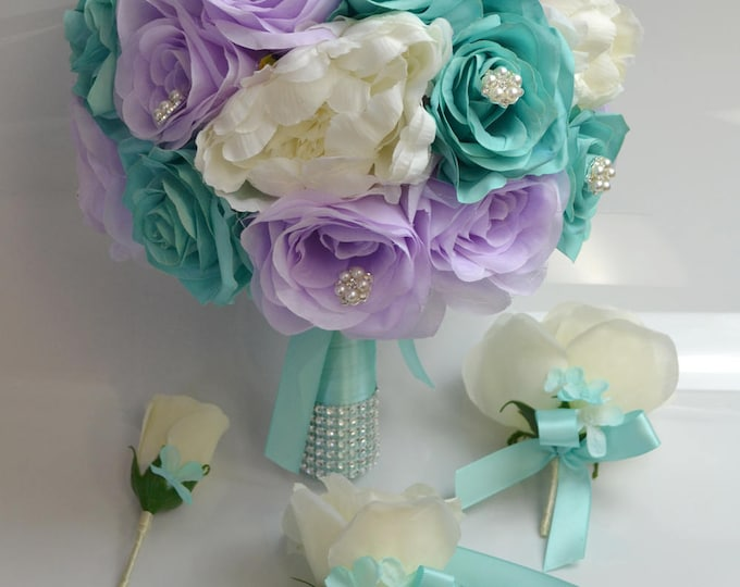 Wedding Bouquet, Bridal Bouquet, Bridesmaid Bouquet, Silk Flower Bouquet, Wedding Flower, 17 Piece Set, Lavender, Pool, Spa, Lily of Angeles