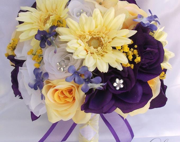 Wedding Bouquet, Bridal Bouquet, Bridesmaid Bouquet, Silk Flower Bouquet, Wedding Flowers, 17 Piece Package, Purple, Yellow, Lily of Angeles
