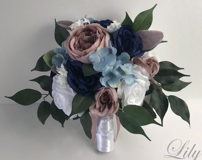 Wedding Bouquet, Bridal Bouquet, Bridesmaid Bouquet, Silk Flower Bouquet, Wedding Flower, Mauve, Navy, Dusty Pink, Blue, Lily of Angeles
