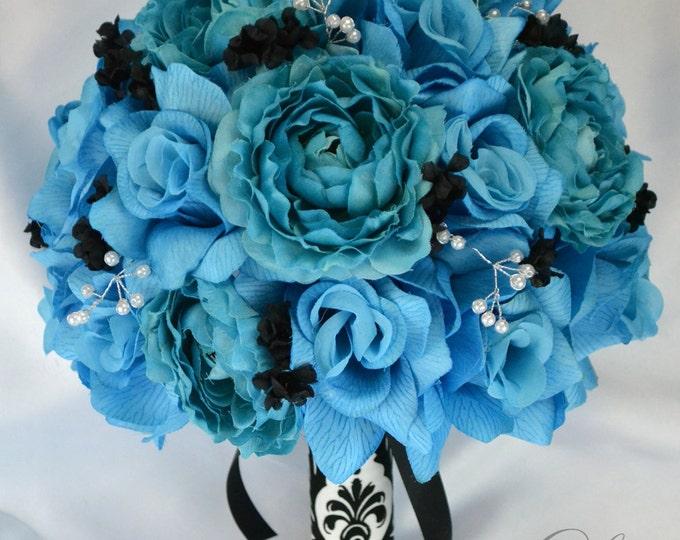 Wedding Bouquet, Bridal Bouquet, Bridesmaid Bouquet, Silk Flower Bouquet, Wedding Flowers, 17 Piece Set, Turquoise, Malibu, Lily of Angeles