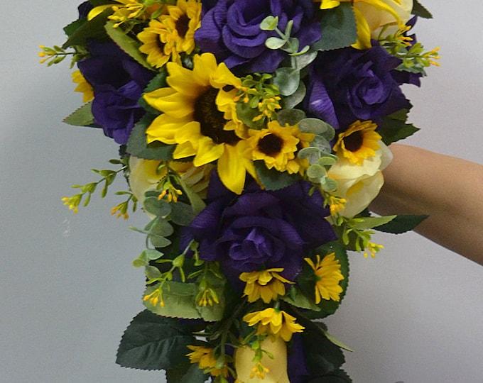 Wedding Bouquet, Bridal Bouquet, Bridesmaid Bouquet, Silk Flower Bouquet, Cascade, Teardrop, Sunflower, yellow, purple, Lily of Angeles