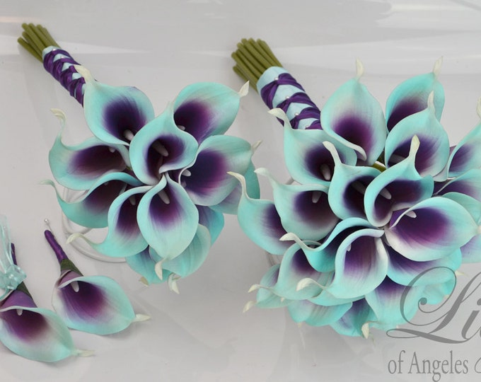"""Wedding Bridal Bouquets 4 Piece Package Silk Flowers Party Picasso Real Touch Calla Lily PURPLE ROBIN'S Egg BLUE Spa """"Lily of Angeles PUTI01"""