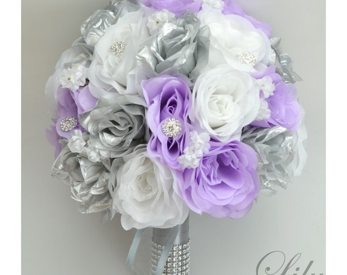 Wedding Bouquet, Bridal Bouquet, Bridesmaid Bouquet, Silk Flower Bouquet, Wedding Flowers, 17 Piece Set, Silver, Lavender, Lily of Angeles