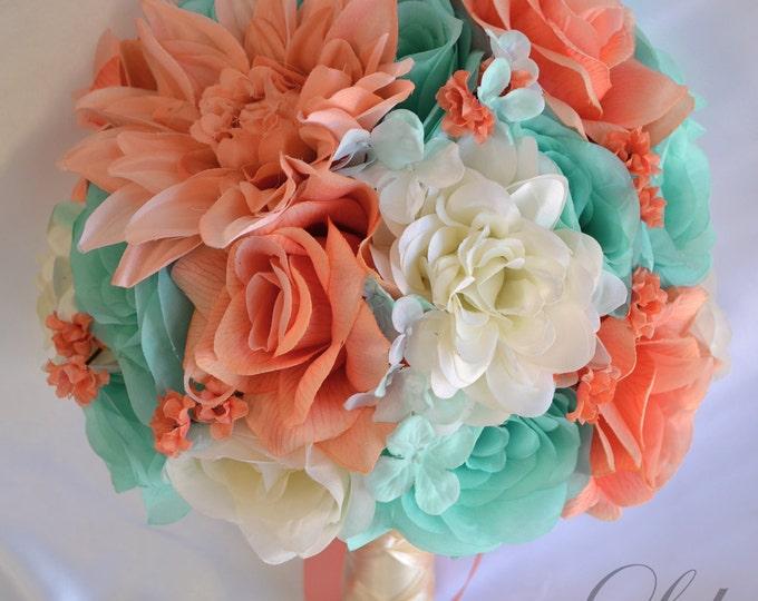 Wedding Bouquet, Silk Flower Bouquet, Wedding Flowers, Bouquet Wedding, Bridal Bouquet, Coral, Robin's Egg Blue, Spa, 17 Pc, Lily of Angeles