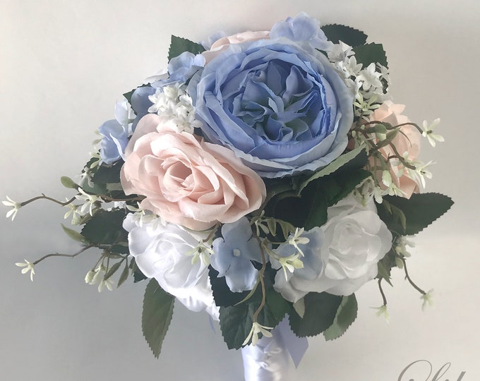 Wedding Bouquet, Bridal Bouquet, Bridesmaid Bouquet, Silk Flower Bouquet, Wedding Flower, Serenity, Corn Flower Blue, Blush, Lily of Angeles
