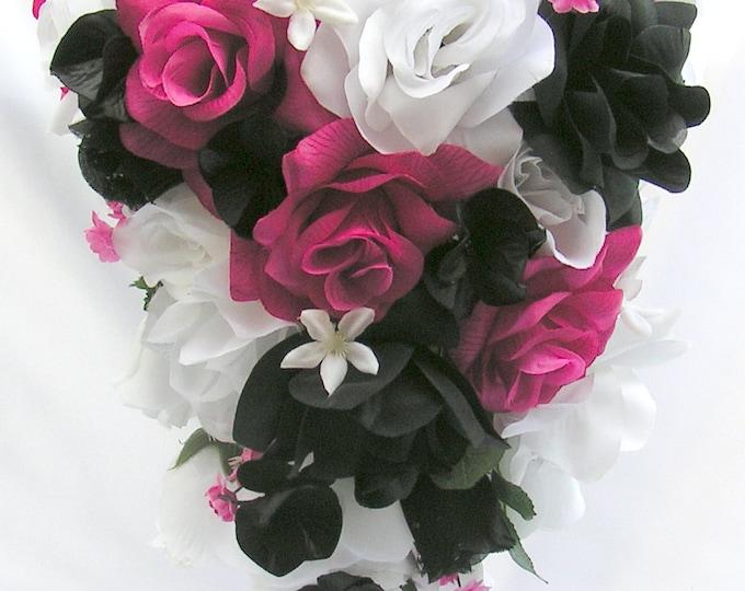 "Wedding Bouquet, Cascade Bouquet, Teardrop Bouquet, Silk Flower, Wedding Flowers, Silk Bouquet, 17 Piece Package, FUCHSIA ""Lily Of Angeles"""