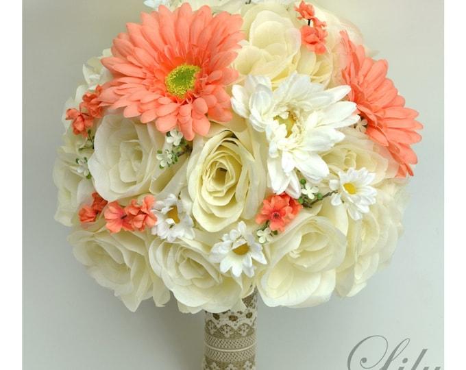 Wedding Bouquet, Bridal Bouquet, Bridesmaid Bouquet, Silk Flower Bouquet, Wedding Flowers, 17 Piece Package, Coral, Cream, Lily of Angeles