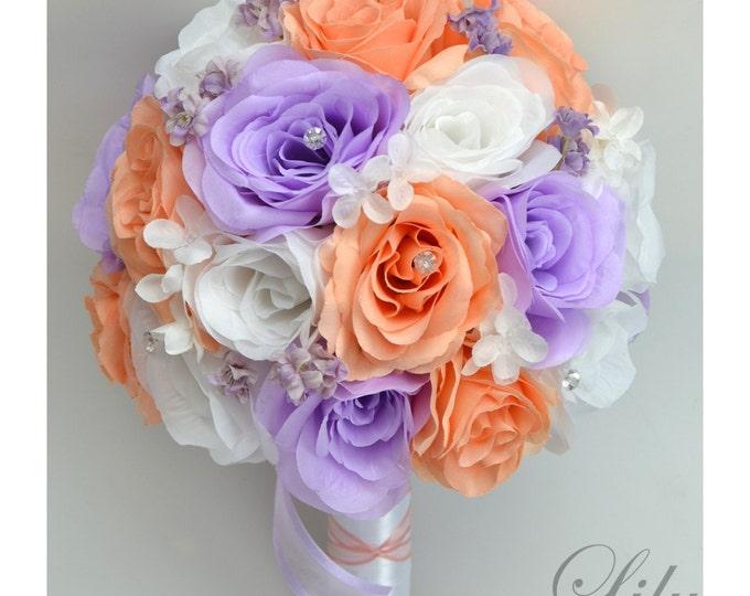 Wedding Bouquet, Bridal Bouquet, Bridesmaid Bouquet, Wedding Flower, Silk Flower Bouquet, 17 Piece Package, Lavender, Peach, Lily of Angeles