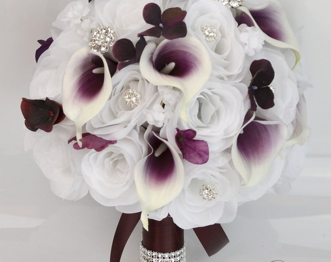 Wedding Bouquet, Bridal Bouquet, Bridesmaid Bouquet, Silk Flower Bouquet, Wedding Flower, 17 Pieces, Plum, Eggplant, Purple, Lily of Angeles