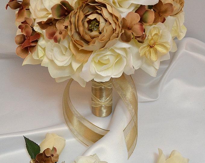 Wedding Bouquet, Bridal Bouquet, Bridesmaid Bouquet, Silk Flower Bouquet, Wedding Flowers, 17 Piece Set, Champagne, Cream, Lily of Angeles