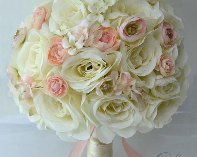 Wedding Bouquet, Bridal Bouquet, Bridesmaid Bouquet, Silk Flower Bouquet, Wedding Flowers, 17 Piece Package, Peach, Blush, Lily of Angeles
