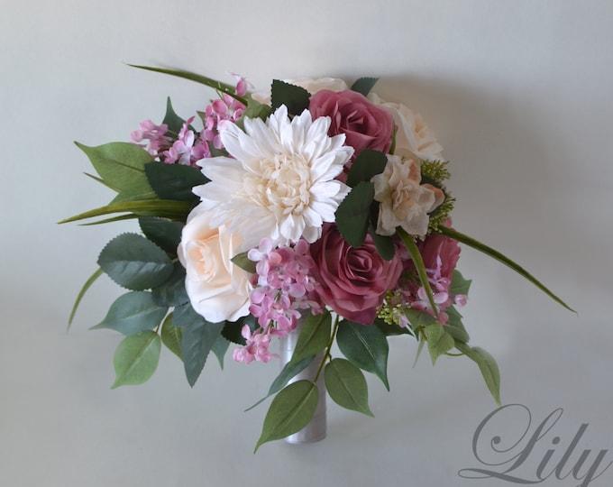 Wedding Bouquet, Bridal Bouquet, Bridesmaid Bouquet, Silk Flower Bouquet, Wedding Flower, mauve, baby pink, blush, peach, Lily of Angeles