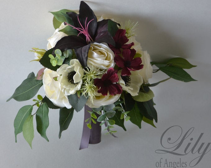 Wedding Bouquet, Bridal Bouquet, Bridesmaid Bouquet, Silk Flower Bouquet, Wedding Flower, eggplant, burgundy, plum, ivory, Lily of Angeles