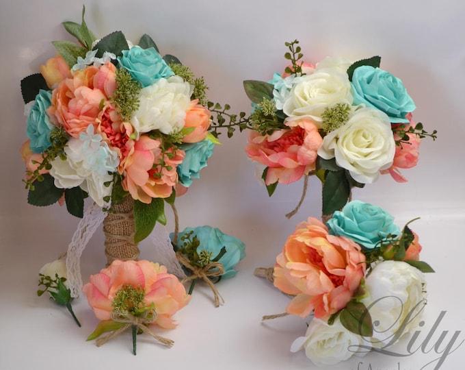 Wedding Bouquet, Bridal Bouquet, Bridesmaid Bouquet, Silk Flower Bouquet, Wedding Flowers, Coral, Spa, Robin's Egg, Pool, Lily of Angeles