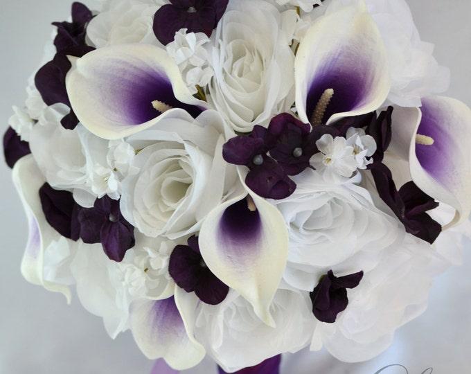 Wedding Bouquet, Bridal Bouquet, Bridesmaid Bouquet, Silk Flower Bouquet, Wedding Flowers, 17 Piece Package, Plum, Eggplant, Lily of Angeles