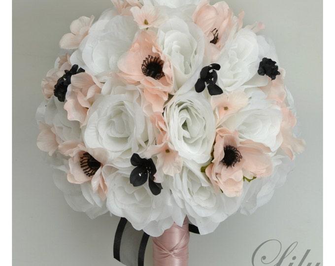 Wedding Bouquet, Bridal Bouquet, Bridesmaid Bouquet, Silk Flower Bouquet, Wedding Flowers, 17 Piece Package, Blush, Black, Lily of Angeles