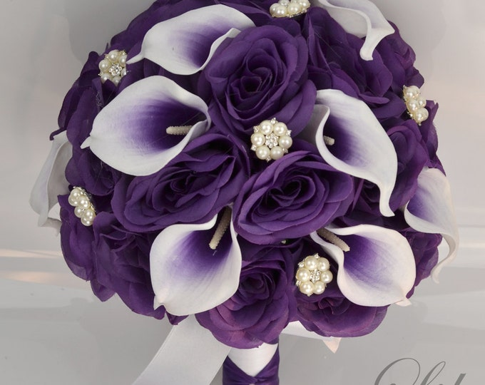 """Wedding Bridal Bouquets 17 Piece Package Bouquet Silk Flowers Bride Jewels Real Touch Picasso Calla Lily PURPLE PLUM """"Lily of Angeles WTPU06"""