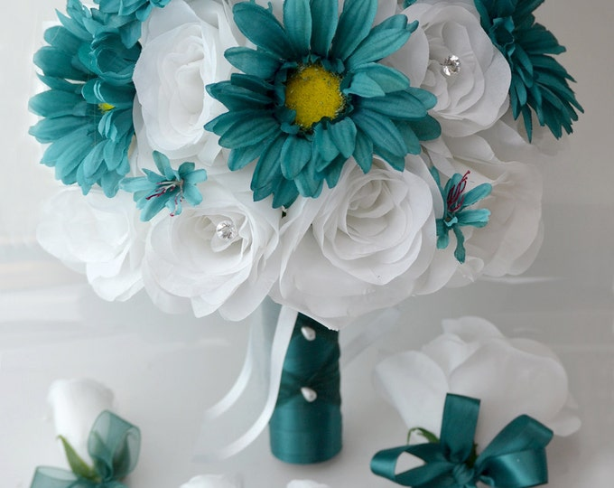 Wedding Bouquet, Bridal Bouquet, Bridesmaid Bouquet, Silk Flower Bouquet, Wedding Flowers, 17 Piece Package, Teal, White, Lily of Angeles