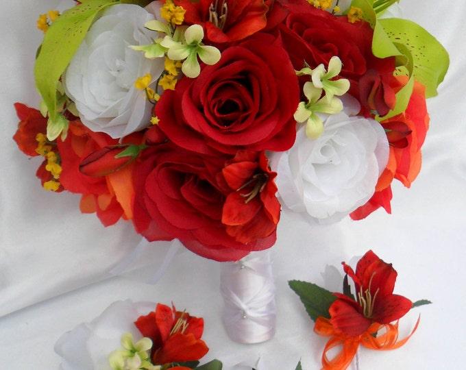 Wedding Bouquet, Bridal Bouquet, Bridesmaid Bouquet, Silk Flower Bouquet, Wedding Flowers, 17 Piece Set, Green, Red, Orange, Lily Of Angeles