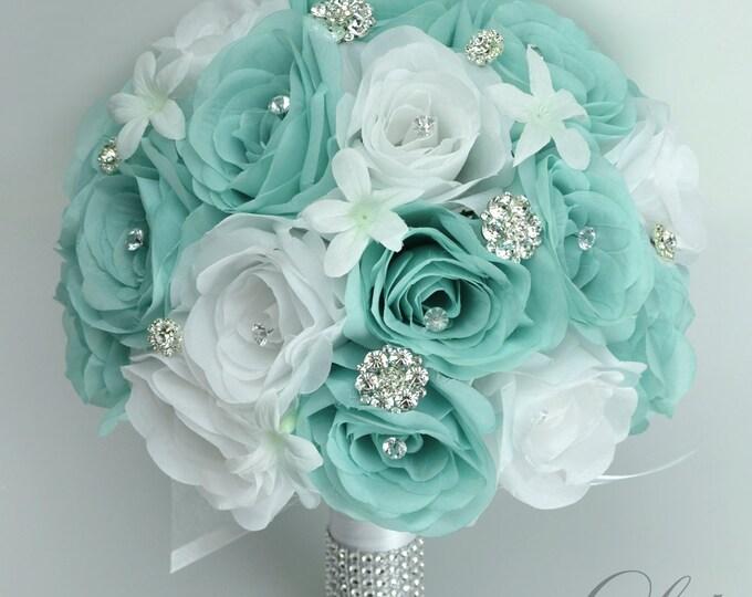 Wedding Bouquet, Bridal Bouquet, Silk Flower Bouquet, Wedding Flower, Silk Bouquet, 17 Piece Package, Robin's Egg Blue, Spa, Lily of Angeles