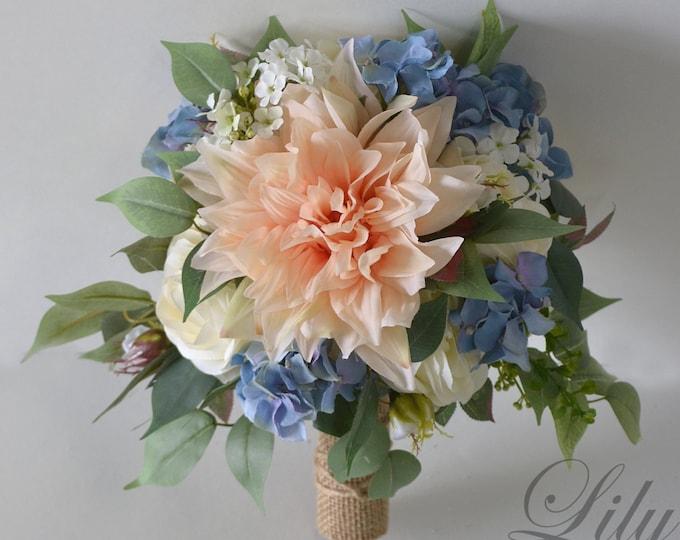 Wedding Bouquet, Bridal Bouquet, Bridesmaid Bouquet, Silk Flower Bouquet, Wedding, blush, Slate blue, Serenity, dusty blue, Lily of Angeles