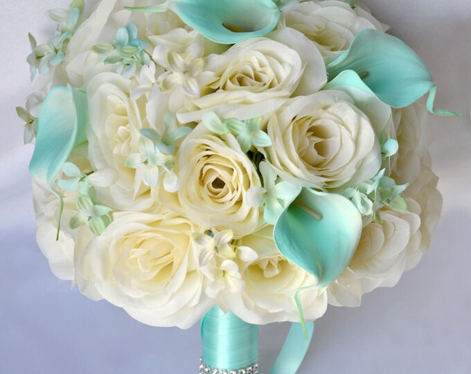 Wedding Bouquet, Bridal Bouquet, Bridesmaid Bouquet, Silk Flower Bouquet, Wedding Flowers, 17 Pieces Set, Robin's Egg Blue, Lily of Angeles