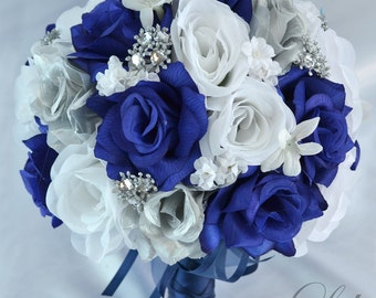 Wedding Bouquet, Bridal Bouquet, Bridesmaid Bouquet, Silk Flower Bouquet, Wedding Flower, Dark Blue, Navy, 17 Piece Package, Lily of Angeles
