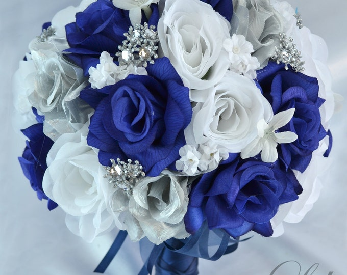 Wedding Bouquet, Bridal Bouquet, Bridesmaid Bouquet, Silk Flower Bouquet, Wedding Flower, Dark Blue, Navy, Lily of Angeles
